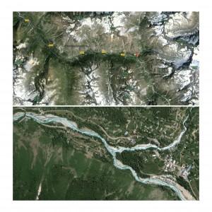 Figures 1 et 2 : Photographies aériennes (issues du site Google Maps : URL : https://maps.google.fr) sur lesquelles on identifie l'extrémité Sud de la route départementale 530 qui prend fin à la Bérarde, dernier village de la vallée du Vénéon. Le torrent éponyme prend naissance dans un glacier situé quelques kilomètres en amont.