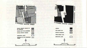 "Fig.6- Madura : Uppukara Block: Part of the Municipal Council's proposals ( gauche) & - Madura : Uppukara Block: The same corner as it would appear after the application of ""conservative surgery"""