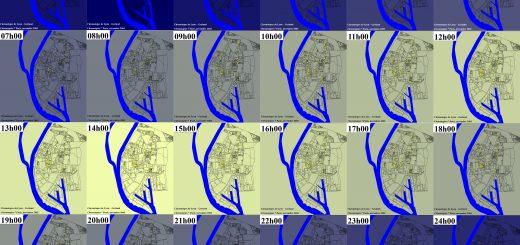 Figure 2 : Carte chronotopique de l'ouverture des commerces sur une journée de 24 h - Grand Lyon la métropole – Source : http://temps.millenaire3.com/temps-de-la-ville/chronotopies