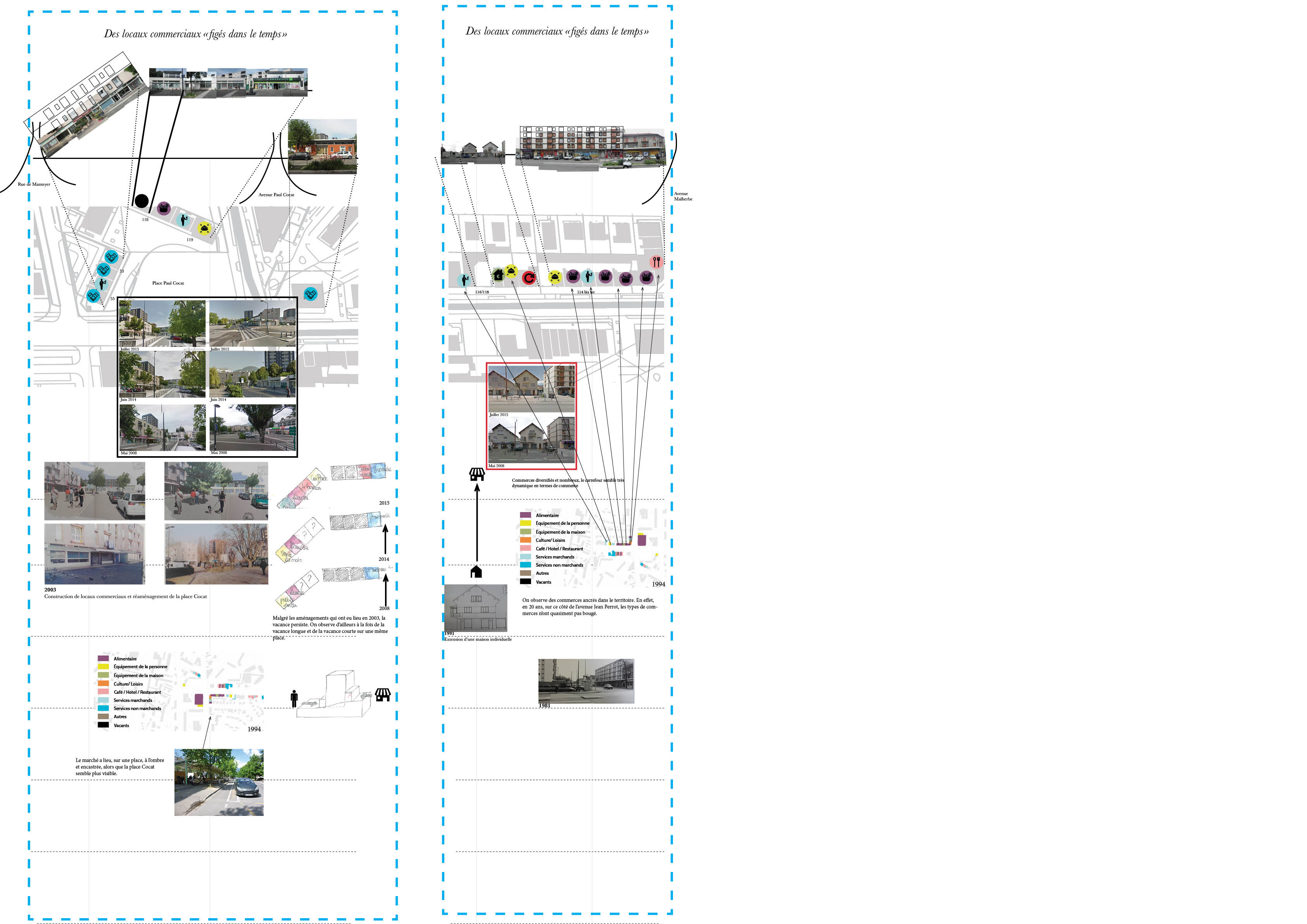 Figure 9 : Des commerces «figés dans le temps» - Elodie Lamothe – sources : cadastre.gouv.fr, Archives de Grenoble et Google Map