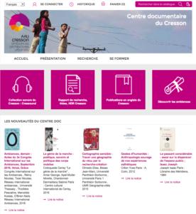 Page d'accueil du portail documentaire du Cresson, mars 2017
