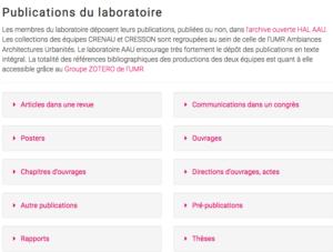 Page publications du site AAU