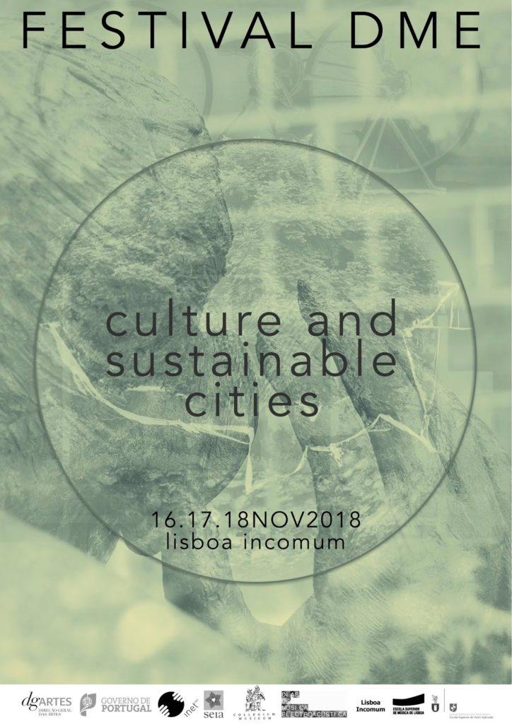 """Affiche du festival DME """"Culture and sustainable cities"""" du 16,17 et 18 novembre 2018"""