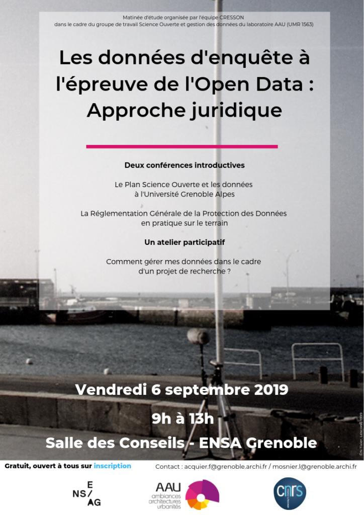 A l'épreuve de l'Open Data : approche juridique Équipe CRESSON - ENSAG